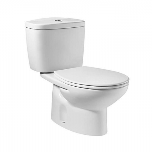 Roca Laura Round Close Coupled Toilet With Dual Flush Cistern - Soft Close Seat - White